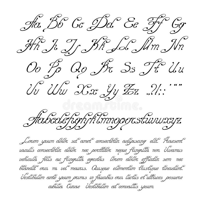 书法字母表 免版税库存图片