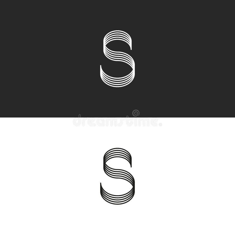 书法字母S商标组合图案 光滑的线镶边了形状 最小的样式品牌身份设计 向量例证