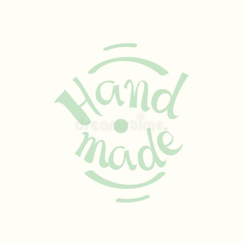 书法手工制造标签 handma的传染媒介商标 皇族释放例证