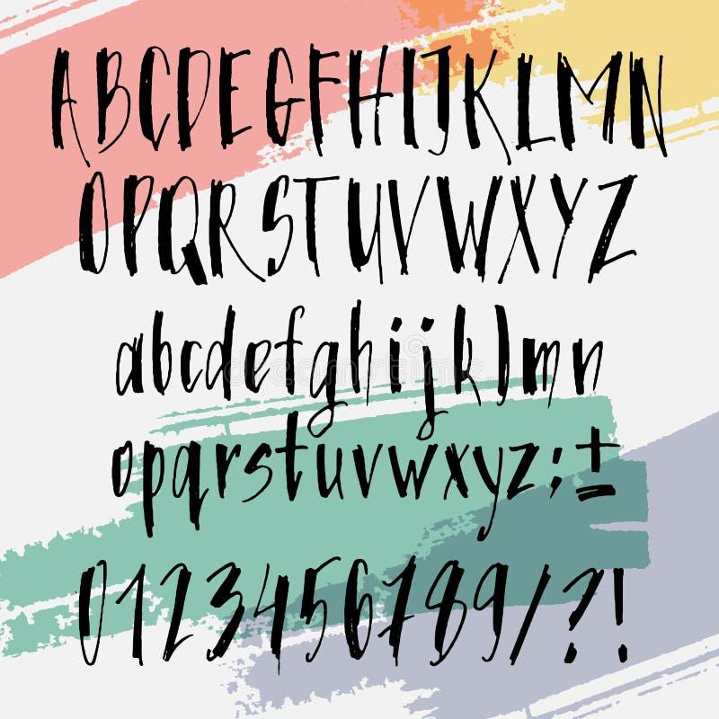 书法手拉的字体 在刷子样式的手写的字母表 在传染媒介的现代剧本 手工制造稀薄艺术性 库存例证