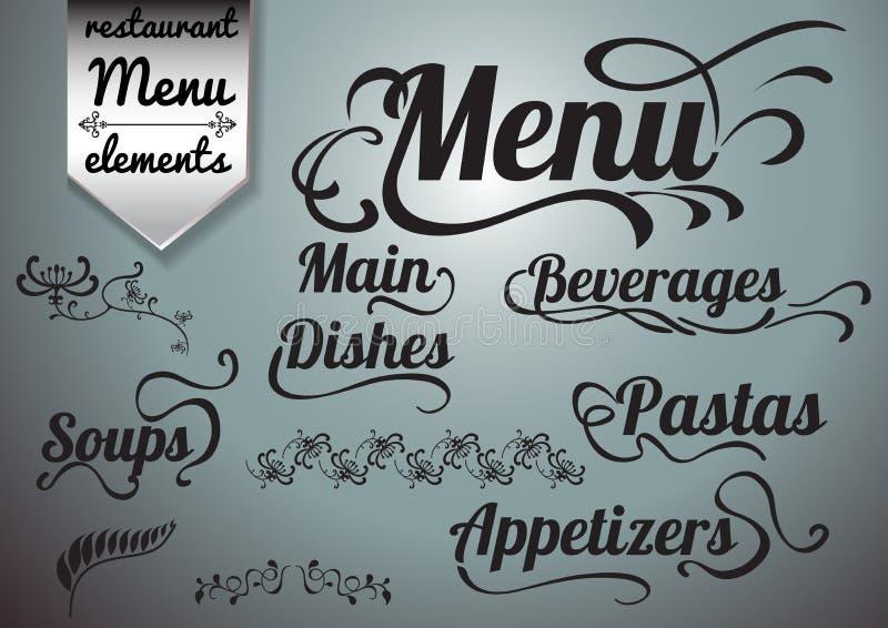 书法标题和标志餐馆菜单和设计的 库存例证
