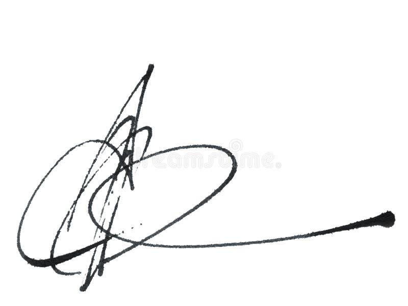 书法署名,在上写字在白色背景 向量例证