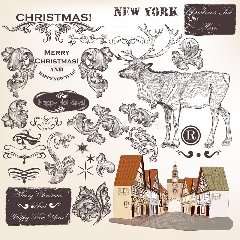 书法葡萄酒元素,漩涡和其他的圣诞节套 皇族释放例证