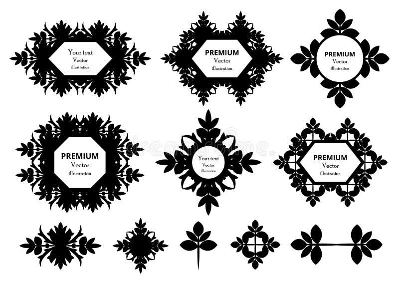 书法设计元素 装饰漩涡或纸卷、葡萄酒框架、华丽、标签和分切器 减速火箭的传染媒介illust 向量例证