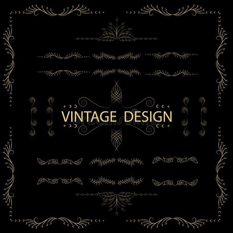 书法设计元素葡萄酒装饰品 向量例证