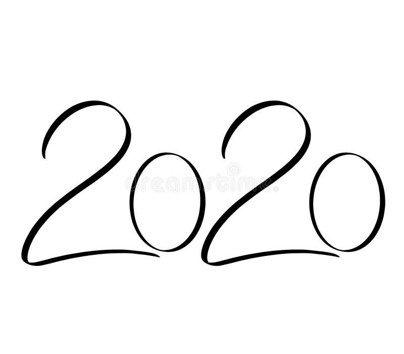 书法设计模板2020年 手拉的黑第在白色背景的2020新年快乐字法由刷子 向量例证