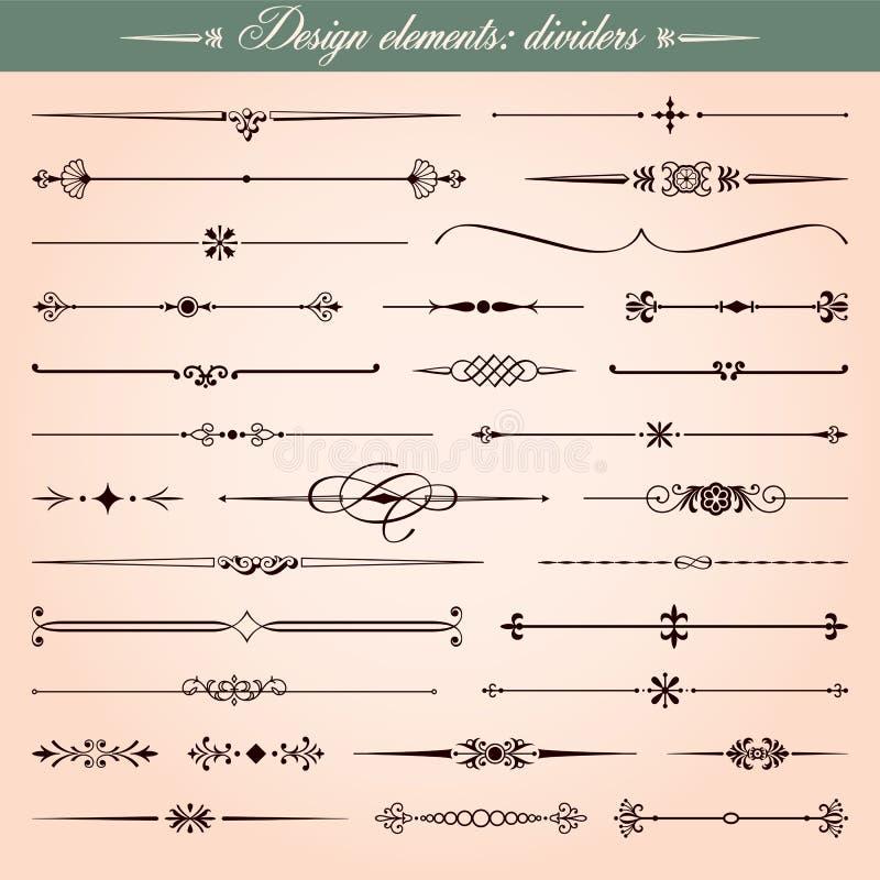 书法设计要素、分切器和破折号 向量例证