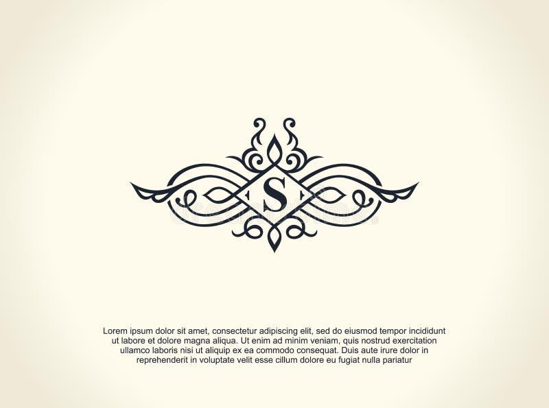 书法豪华线商标 茂盛典雅的象征组合图案 皇家葡萄酒分切器设计 向量例证