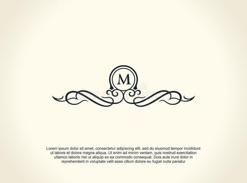 书法豪华线商标 茂盛典雅的象征组合图案 皇家葡萄酒分切器设计 库存例证