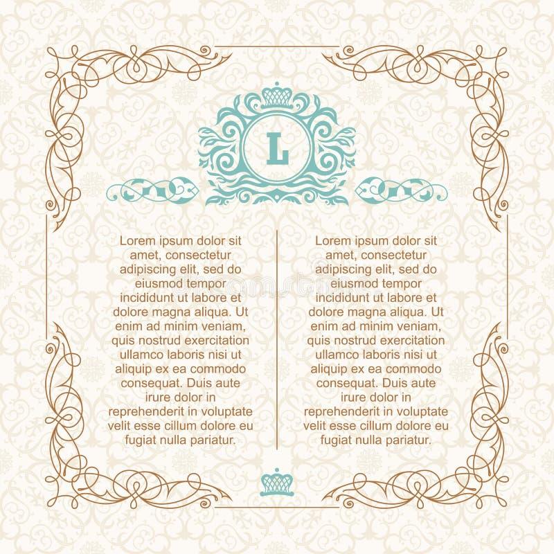 书法边界框架 设计婚姻的贺卡的,邀请,菜单模板 向量例证