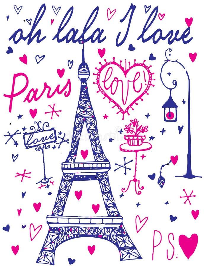 巴黎书法-套手有学问的设计元素 皇族释放例证