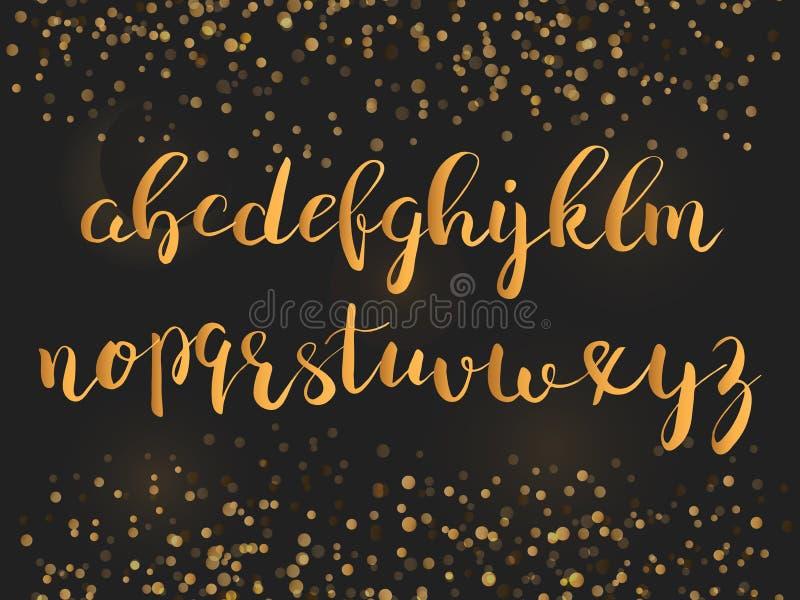 书法brushpen与闪闪发光的字体 向量例证