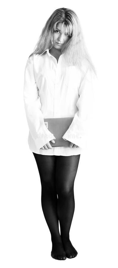 书混淆的女孩衬衣白色 库存图片