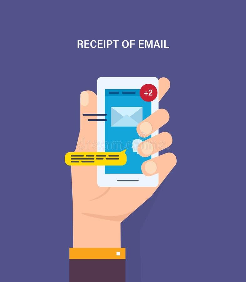 读书电子邮件,电子新闻消息,未经阅读的传入的消息,现代技术 向量例证