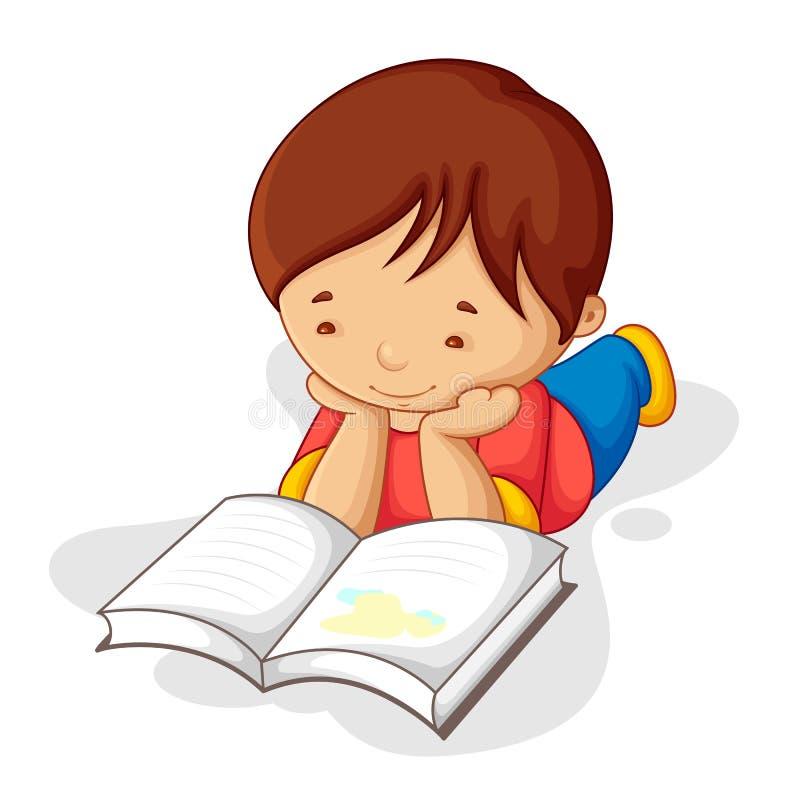 书男孩读取 库存例证