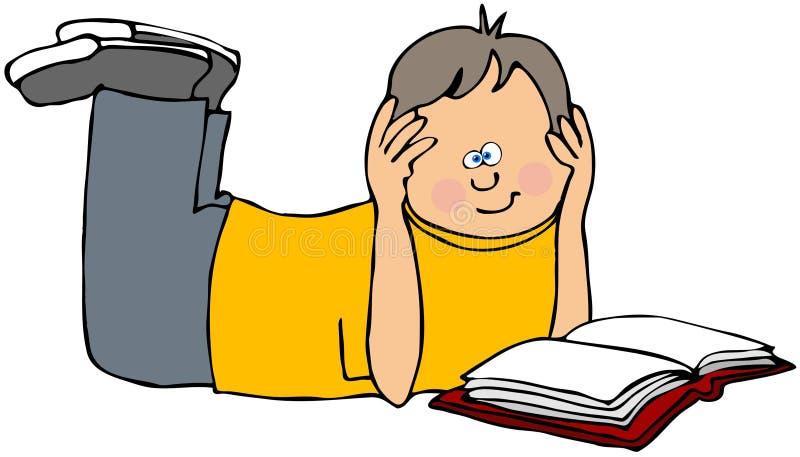 书男孩读取 向量例证