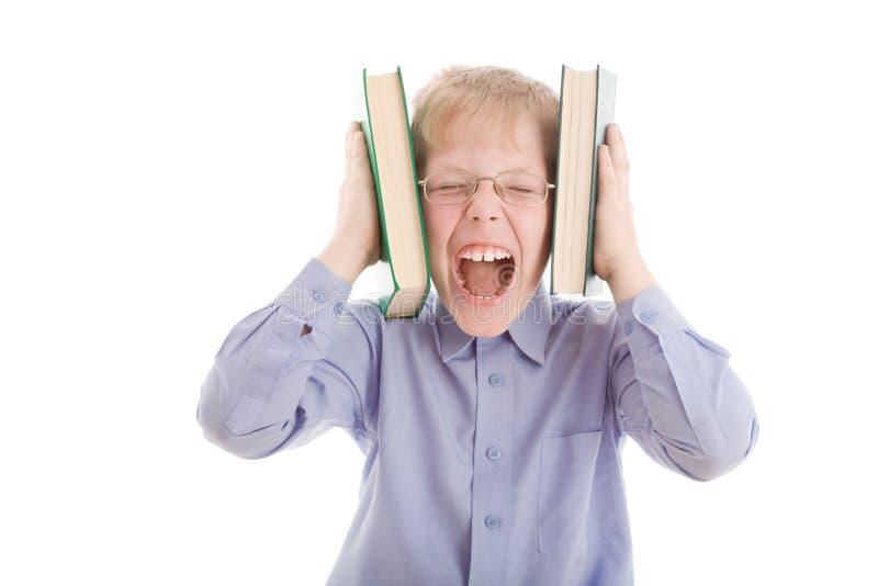书男孩题头尖叫挤压二 图库摄影
