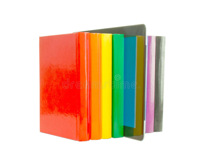 书登记五颜六色的电子阅读程序行 库存照片