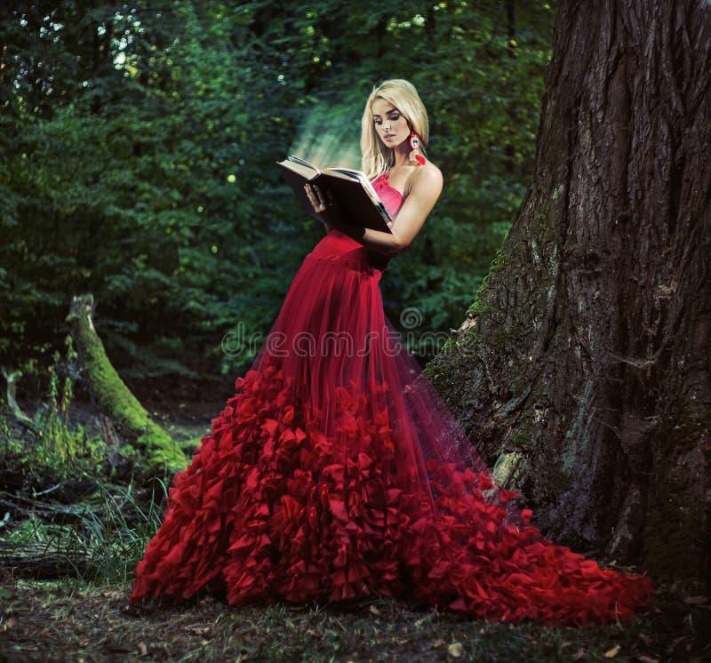 读书的俏丽的森林若虫 图库摄影