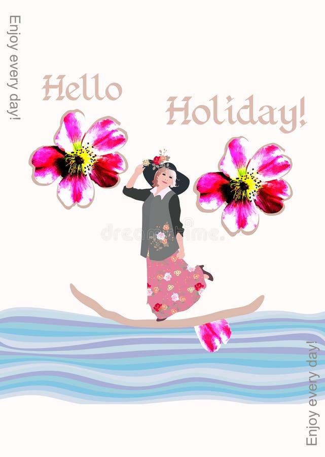 书的创造性的盖子与漂浮在一条小船的一名中年妇女的在度假 每天享用! 库存例证