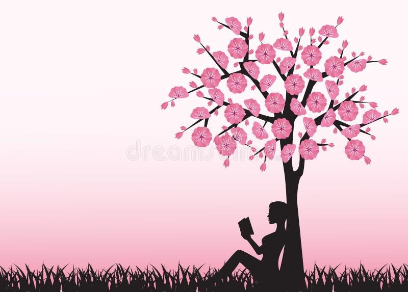 读书的妇女在树下 向量例证