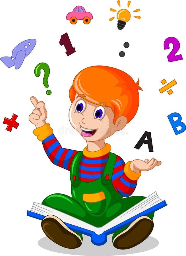 读书的孩子,当教育相关的象在您的背景中盘旋设计时 库存例证