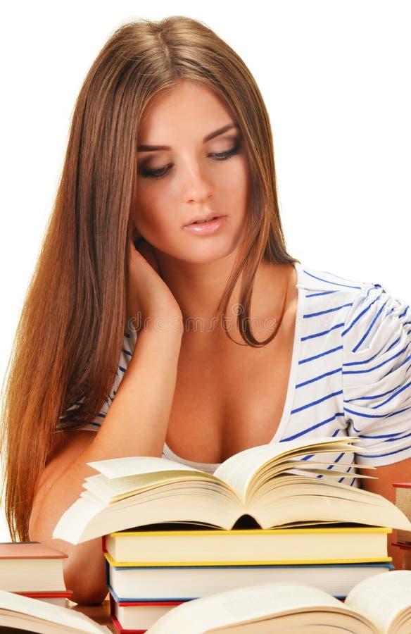 读书的少妇。女学生学会 免版税图库摄影
