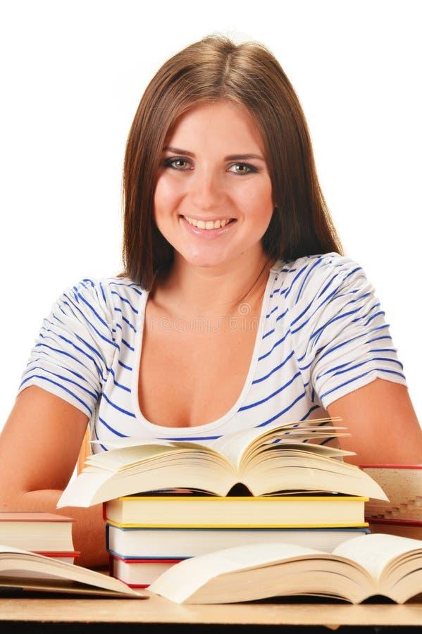 读书的少妇。女学生学会 库存照片