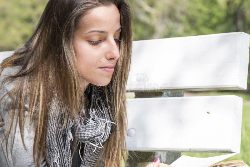 读书的少妇在公园长椅 免版税图库摄影