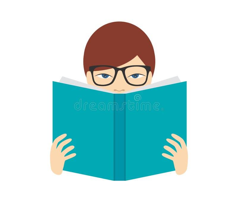 读书的男孩 平的传染媒介 库存例证