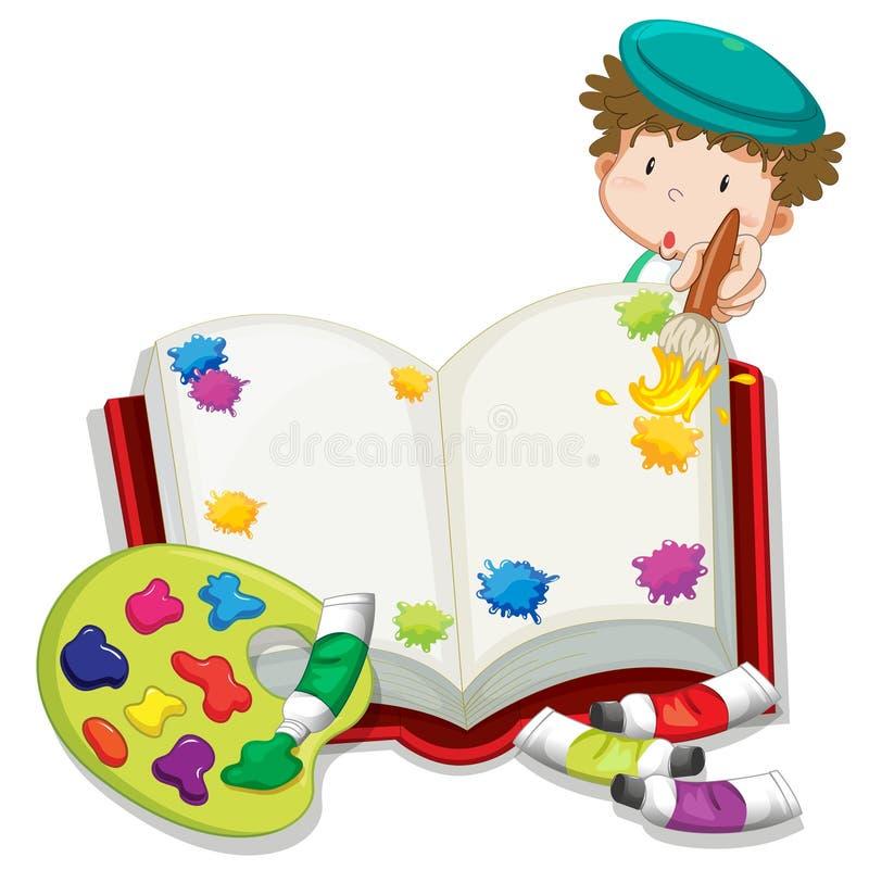 绘书的男孩 向量例证