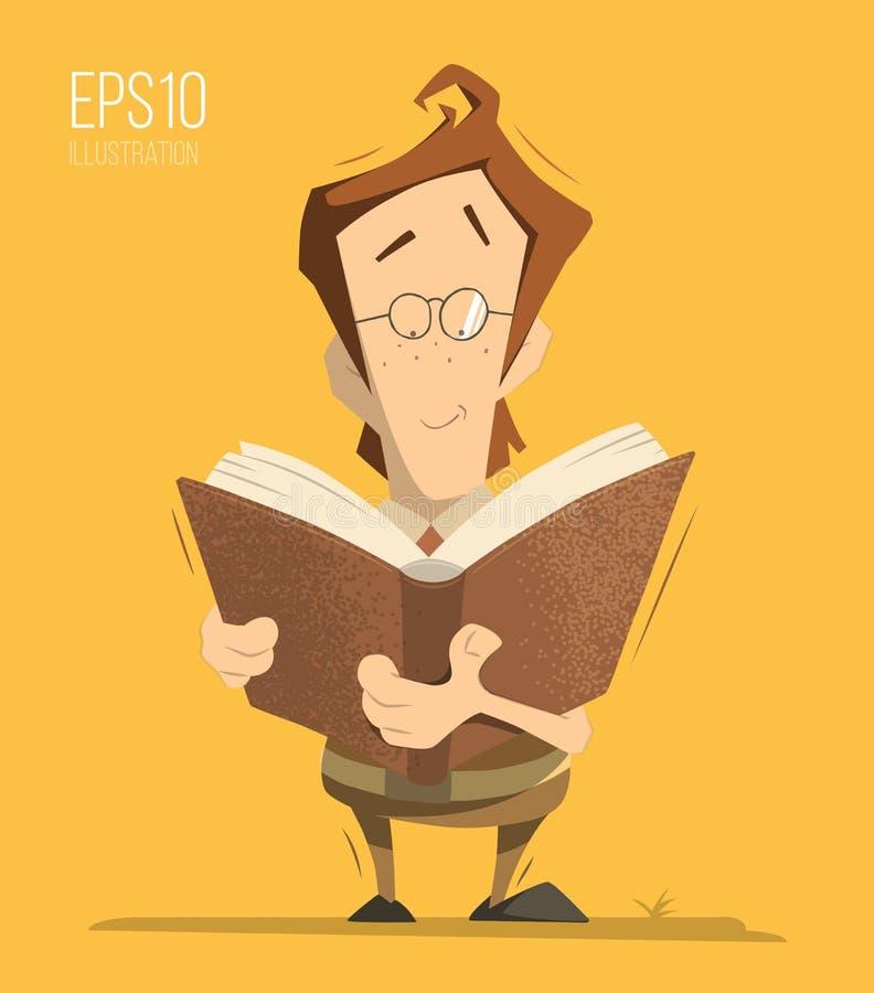 读书的男孩 向量例证