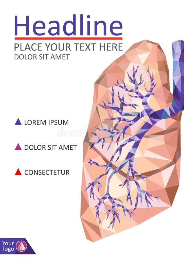 书的盖子模板 人的现实肺和气管在lo 向量例证
