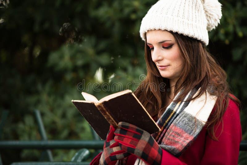 读书的美丽的红头发人 库存图片