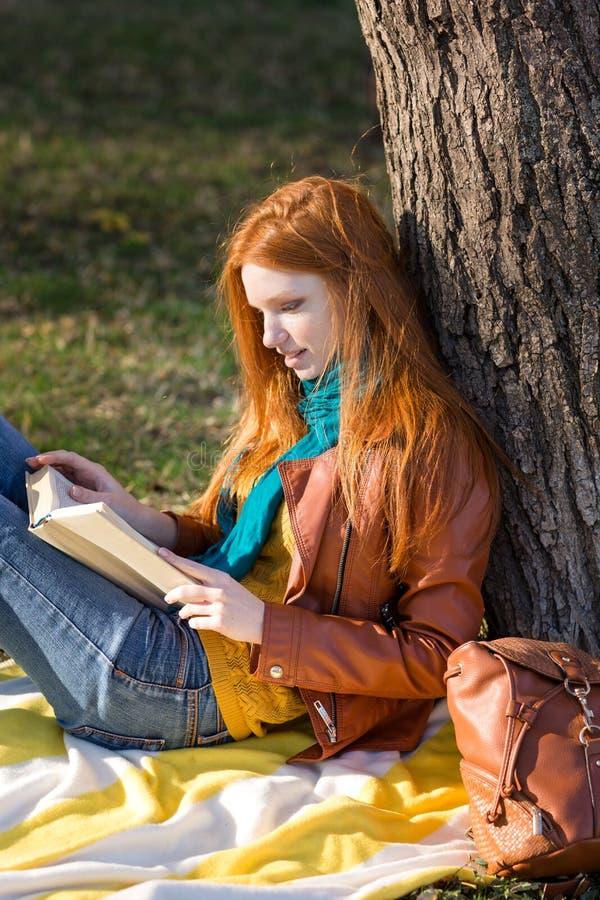 读书的被集中的聪明的女孩在树下 库存照片