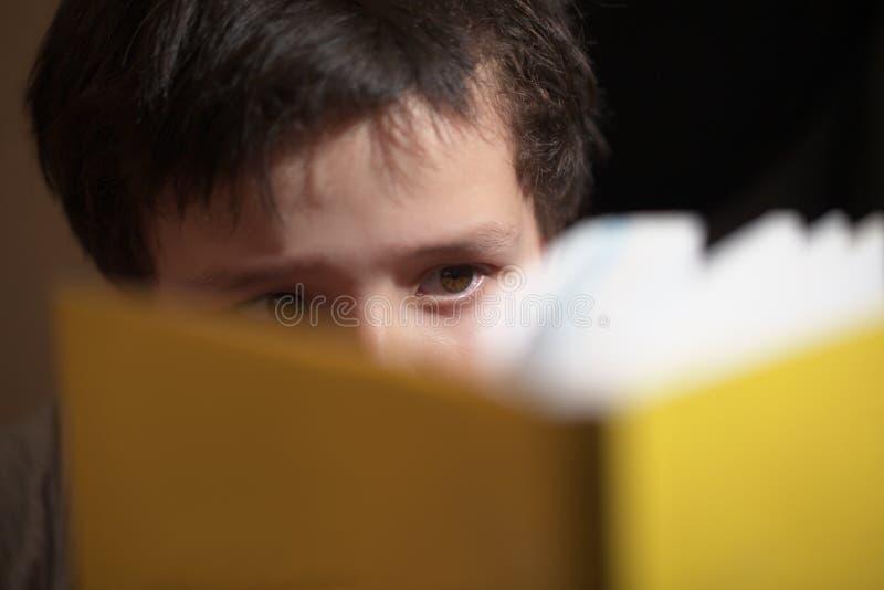 读书的年轻男孩 免版税库存图片