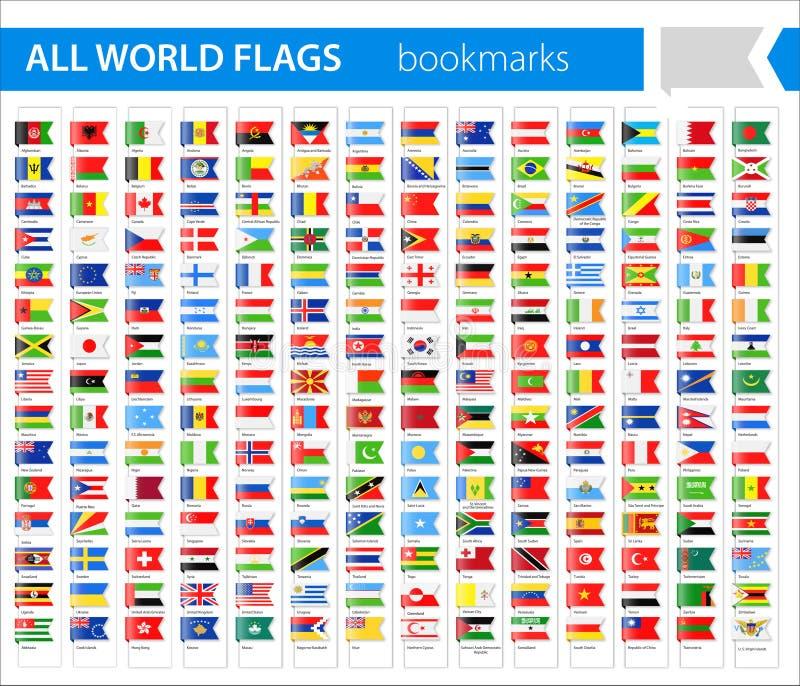书签旗子象-所有世界传染媒介 库存例证