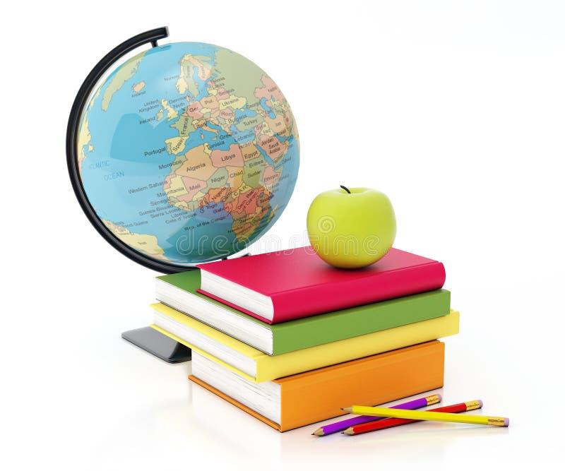 书耸立,地球,苹果并且书写在白色背景隔绝的构成 图库摄影