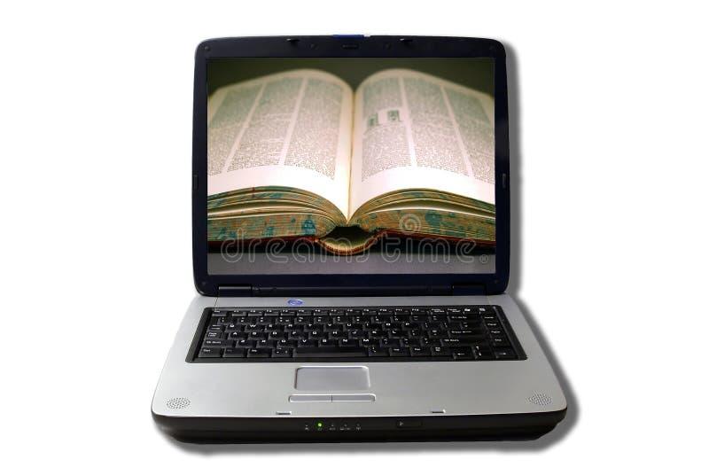 书膝上型计算机开放屏幕 库存照片