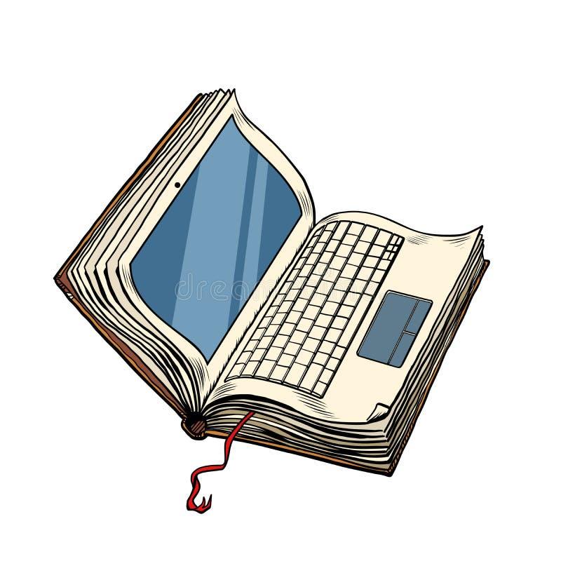 书膝上型计算机电子图书馆,在白色背景的网上教育孤立 向量例证