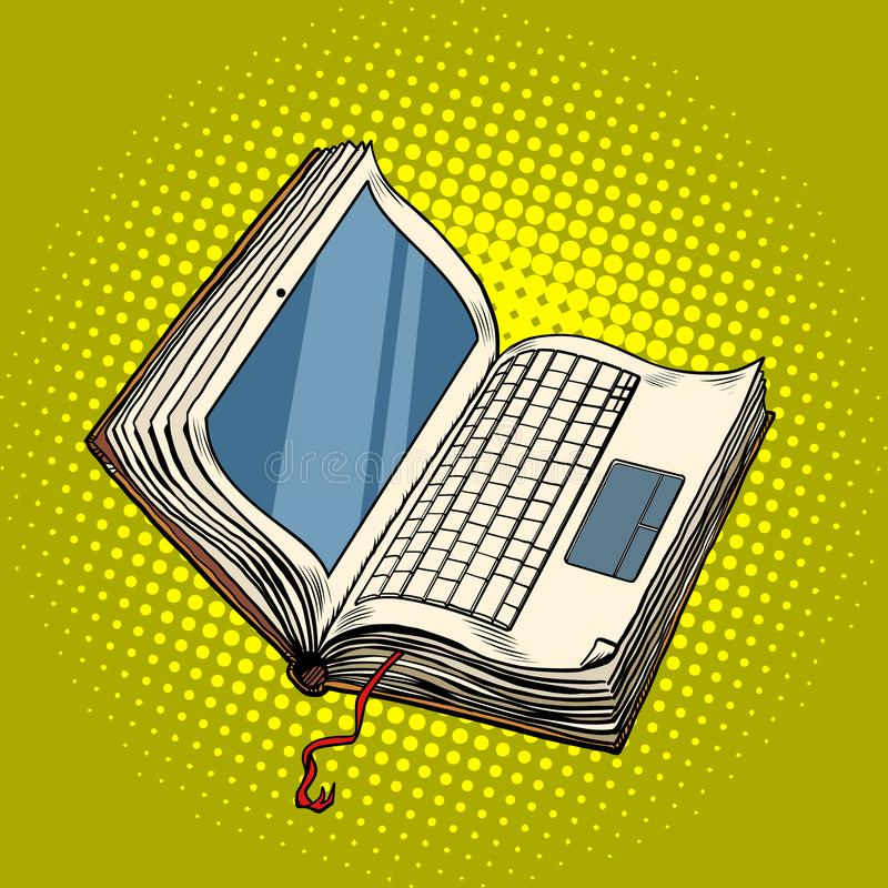 书膝上型计算机电子图书馆,网上教育 向量例证
