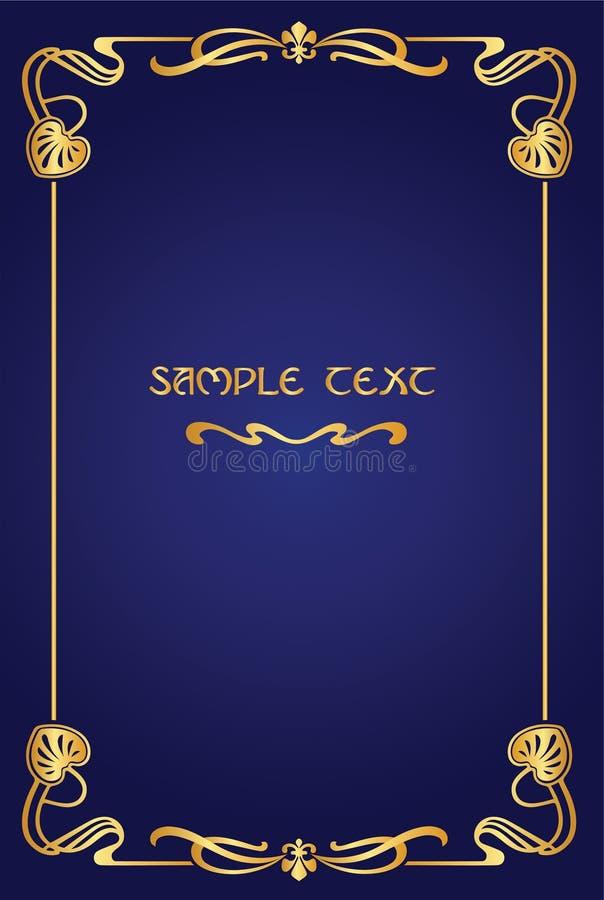 书艺术nouveau盖子-金框架有蓝色背景 免版税库存照片