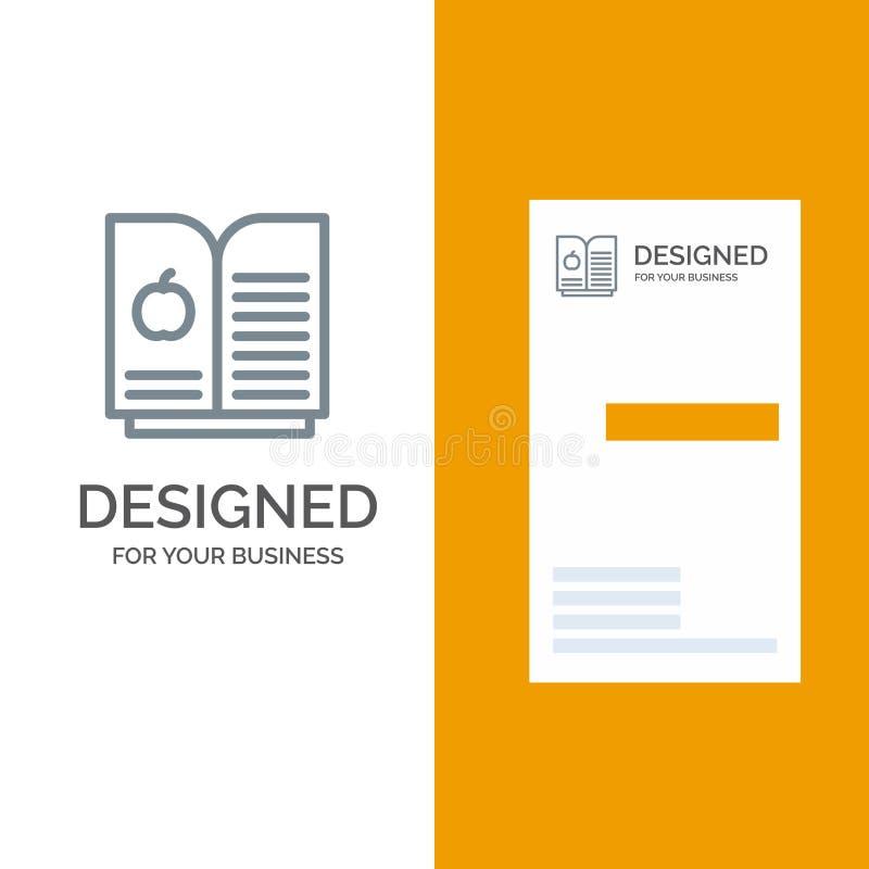 书苹果计算机,科学灰色商标设计和名片模板 库存例证