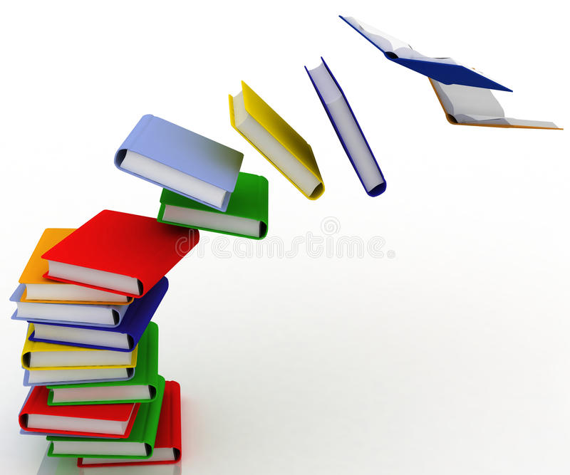 书被毁坏的堆 库存例证