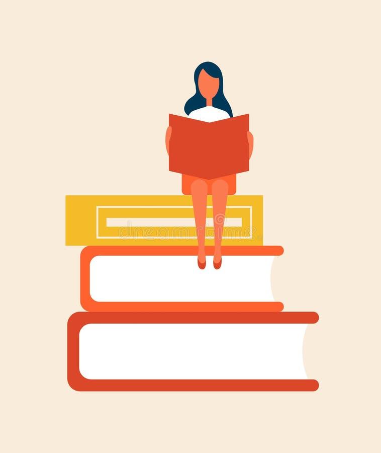 书设置与妇女坐的传染媒介例证 库存例证