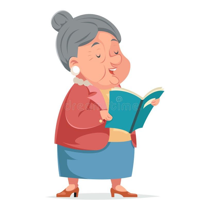 书读书祖母老妇人老婆婆字符成人Icont动画片设计传染媒介例证 皇族释放例证