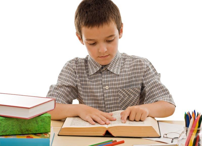 书读取男小学生 免版税库存照片