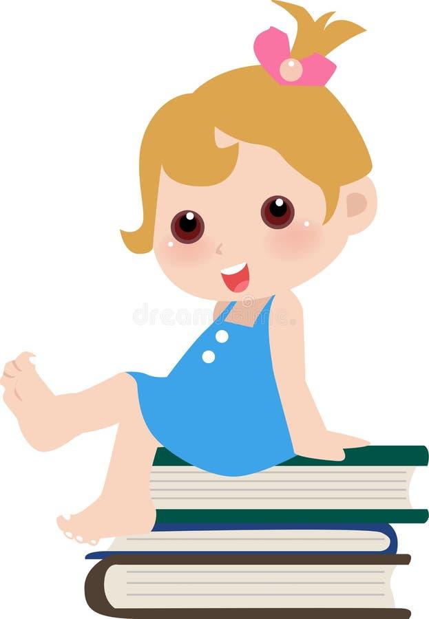 书逗人喜爱的女孩坐 库存例证