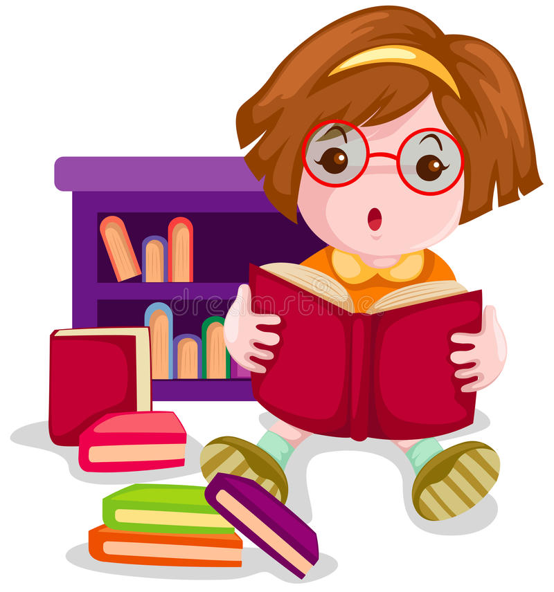 书逗人喜爱的女孩读取 库存例证