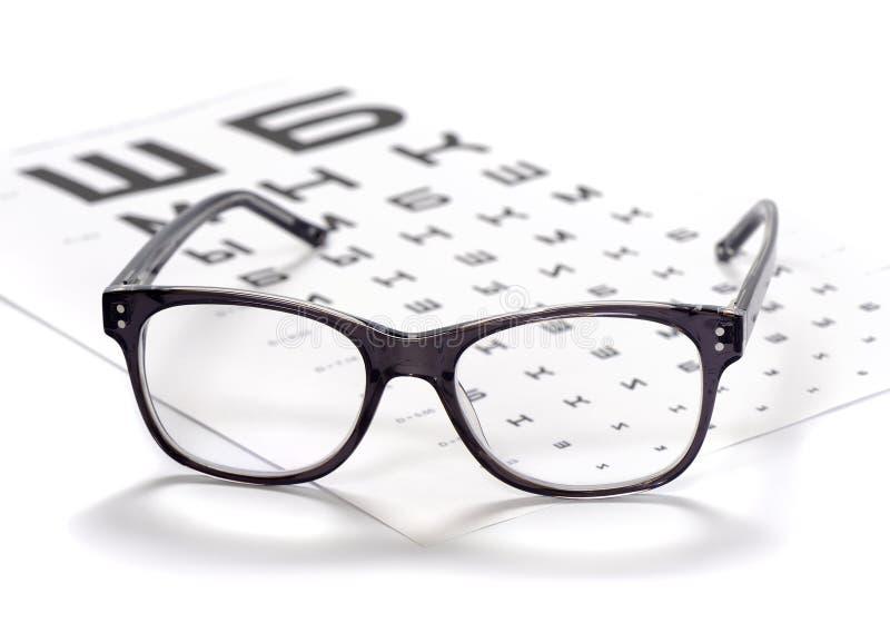 读书镜片和视力检查表特写镜头 免版税库存图片